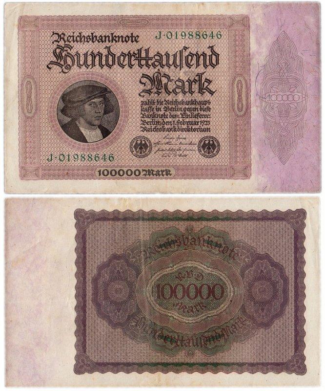 Банкнота 100 000 марок 1923 года