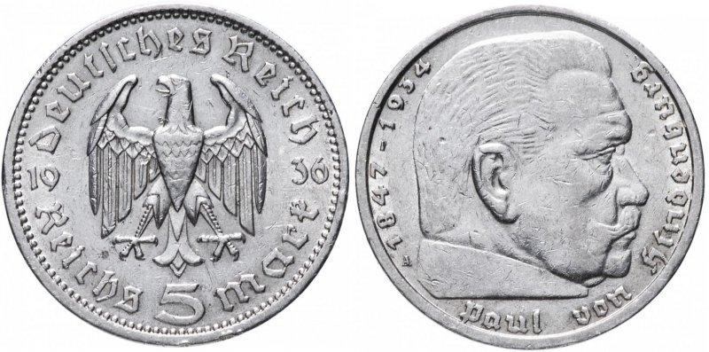 Реверс и аверс монеты 5 марок 1936 года