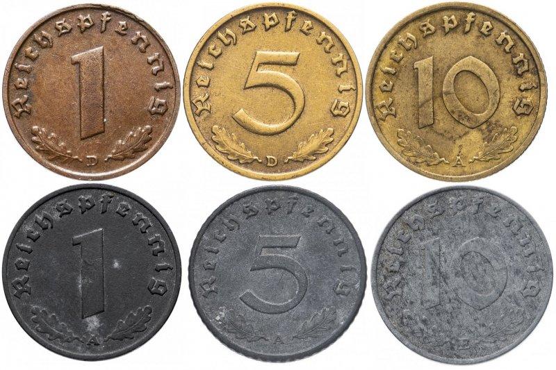 Реверс монет Третьего рейха, верхний ряд – довоенные годы, нижний ряд – военные годы