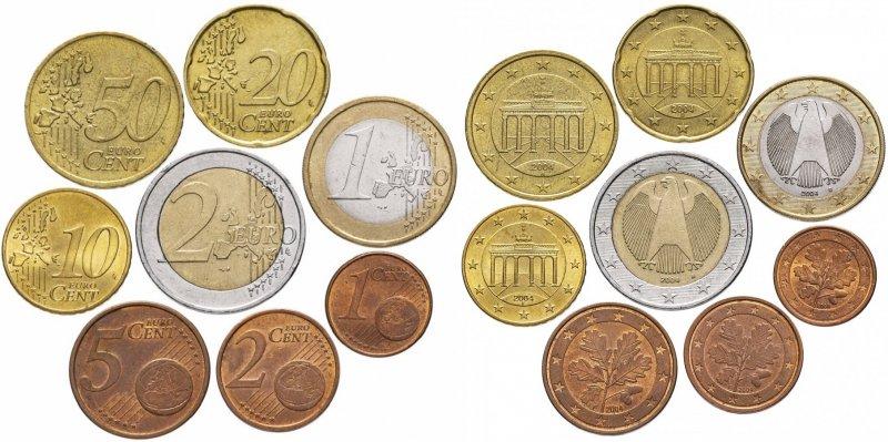 Реверс и аверс монет евро Германии