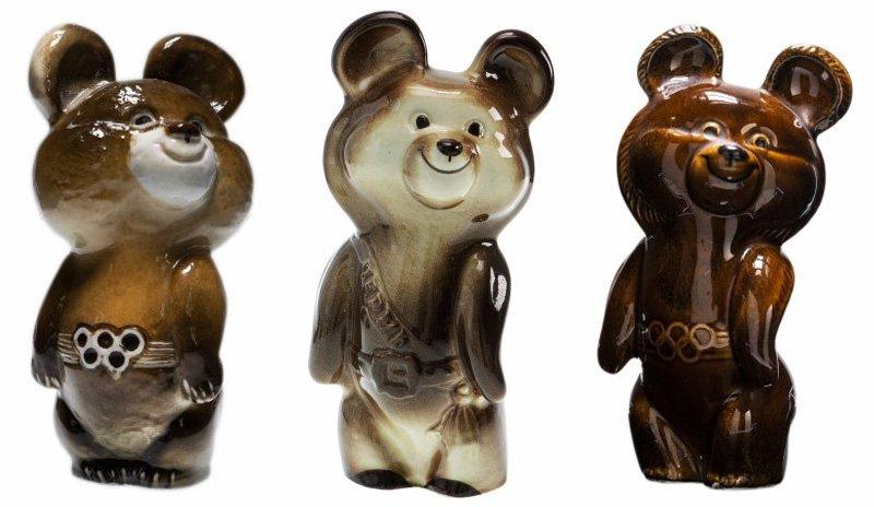 Олимпийские медведи. ЛФЗ (слева), Пермь (в центре) и Конаковский фаянсовый завод (справа)