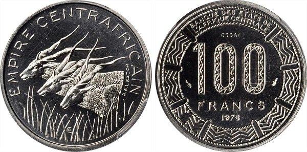 100 франков. Никель. 1978 год