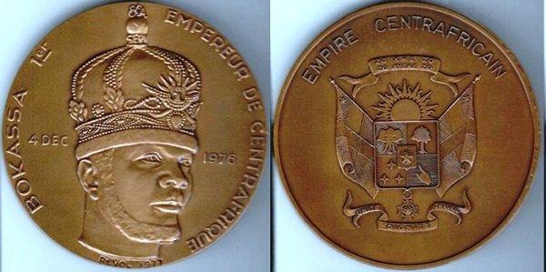 Император Бокасса I на памятной медали в честь коронации. 1977 г.