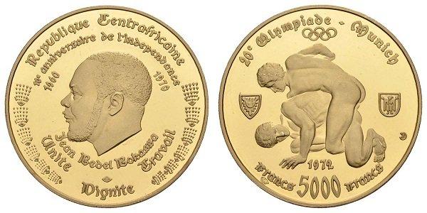 5 тысяч франков. Золото. ЦАР. 1972 г.