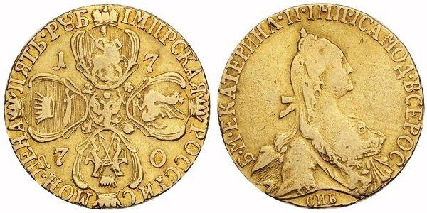 5 рублей Екатерины II. 2 тип. 1770 год