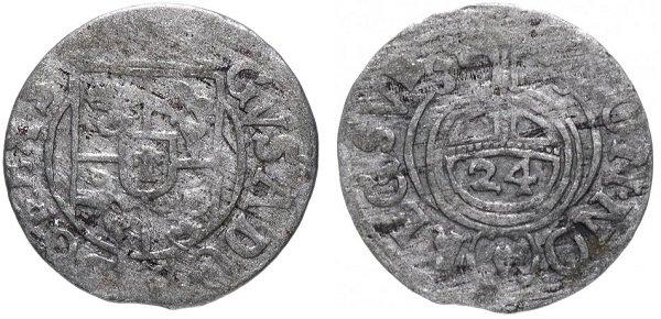 Драйпелькер, он же полторак (1\24 риксдалера). Густав II Адольф (1611-1632 гг.). Серебро, 0,8 г