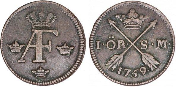 1 эре 1759 года. Адольф-Фредерик (1751-1771 гг.). Медь