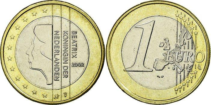 1 евро 2002 года, Нидерланды. Изображена в профиль королева Беатрикс. Данный аверс использовался до 2014 г.