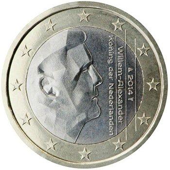 1 евро 2014 года, Нидерланды. Изображен в профиль король Виллем-Александр. Данный аверс используется с 2014 г.