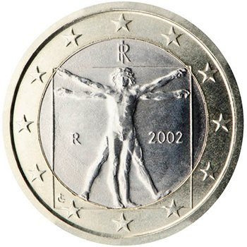 1 евро 2002 года, Италия. Изображен рисунок Леонардо да Винчи «Витрувианский человек»