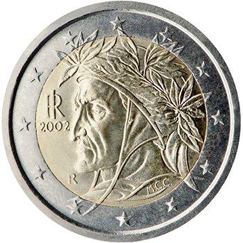 2 евро 2002 года, Италия. Портрет Данте Алигьери (Рафаэль)