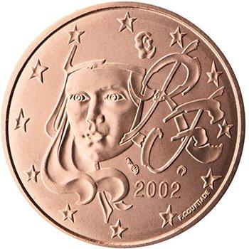 5 центов 2002 года, Франция. Изображена молодая Марианна (символ Французской республики)