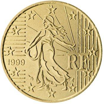 50 центов 1999 года. На аверсе воплощается национальная идея Франции об ее уникальности и независимости, несмотря на вхождение в ЕС. Изображен сюжет с сеятелем.