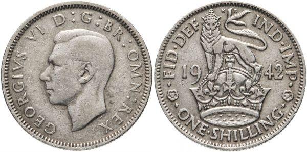 Серебряный шиллинг, Великобритания, 1942 год