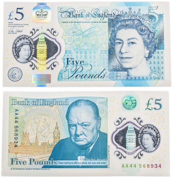 Полимерная банкнота 5 фунтов, Великобритания, выпуск 2015 года, поступление в оборот – 2016 год