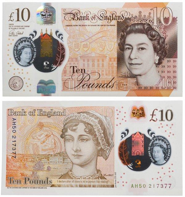 Полимерная банкнота 10 фунтов, Великобритания, 2017 год