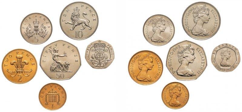 Монеты 1, 2, 5, 10, 20 и 50 пенсов, Великобритания, 1982 год