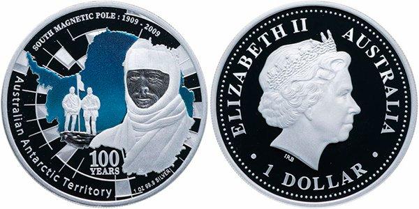 1 доллар «Австралийские Антарктические Территории. 100 лет экспедиции к Южному магнитному полюсу. 1909-2009. Д. Моусон», 2009 г.