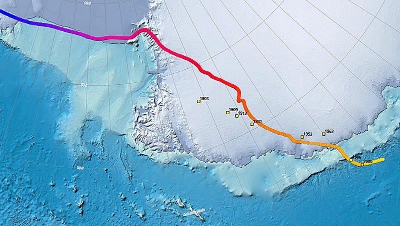 Модель перемещения Южного магнитного полюса (по данным NOAA)