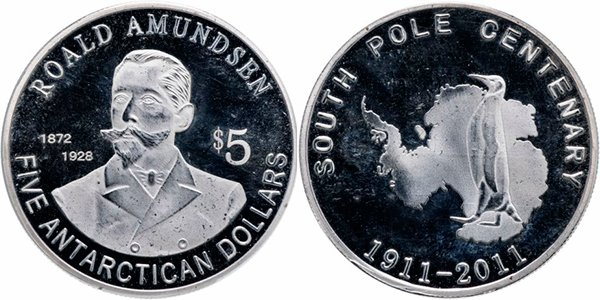 Монетовидный жетон «5 антарктических долларов. Руаль Амундсен», 2011 год