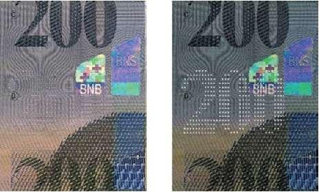 Пример микроперфорации на швейцарских франках