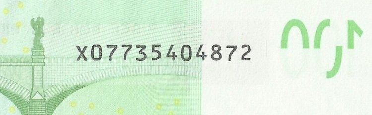 Номер с одиночной литерой на банкноте Евро