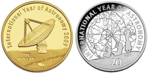 Монеты, номиналом 1 доллар и 20 центов. Австралия, 2009 г.