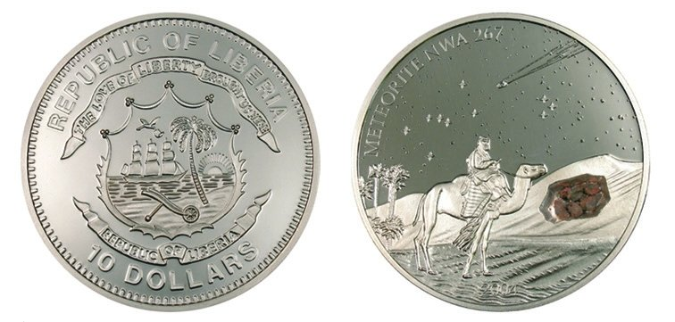 Монета номиналом 10 долларов, Либерия, 2004 г.