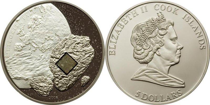 Монета номиналом 5 долларов. Острова Кука, 2008 г.