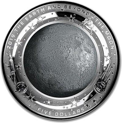 5 долларов «Земля и за ее пределами. Луна», Австралия, 2019 г.