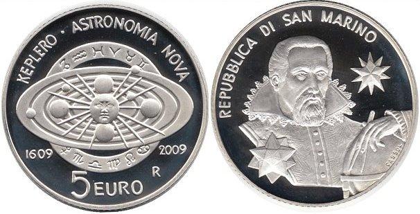 Монета номиналом 5 евро. Сан-Марино, 2009 г.