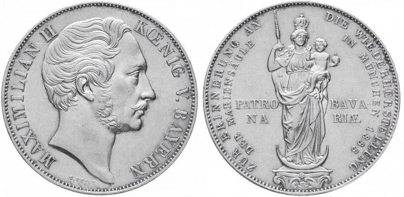 Два гульдена Баварии «Восстановление Мариинской колонны в Мюнхене» (1855)