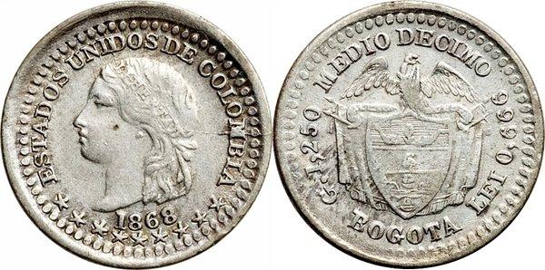 ½ десимо 1868 года