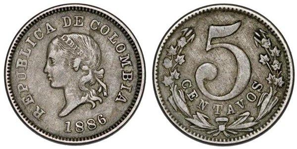 5 сентаво 1886 года