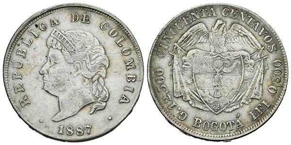 50 сентаво 1887 года