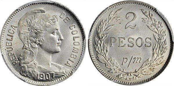 2 песо 1907 года («бумажные деньги»)