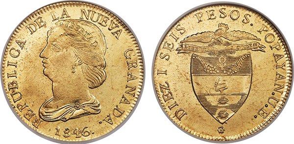 16 песо 1846 года