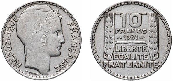 10 франков. 1931 год. Серебро 680 пробы, 10 г