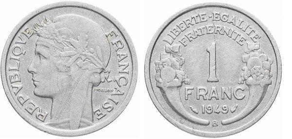 1 франк. 1949 год. Алюминий