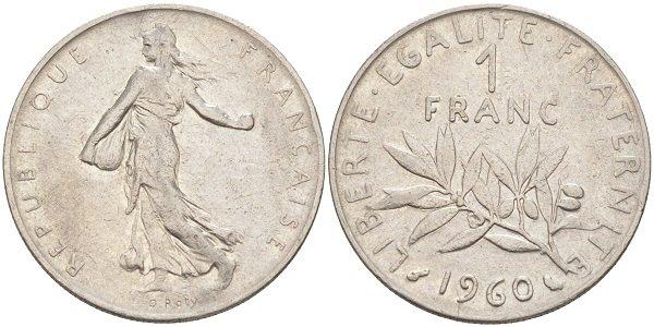1 франк. 1960 год. Никель