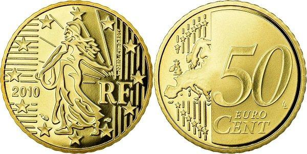 Сеятельница на 50 французских евроцентах. 2010 год