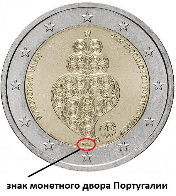 Знак INCM на памятной монете 2 евро 2016 года