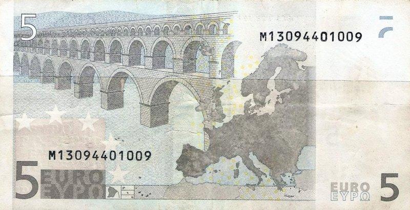 5 евро с буквой «М» в номере