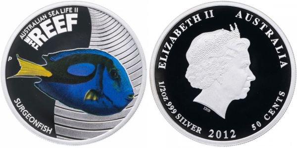 Австралия. 50 центов 2012 года. Рыба-хирург