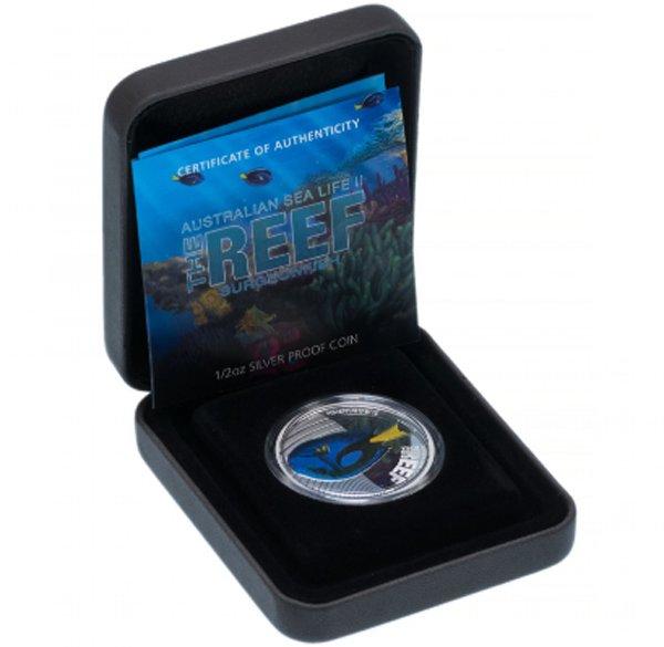 Футляр для монеты Австралии 50 центов 2012 года с рыбой-хирургом