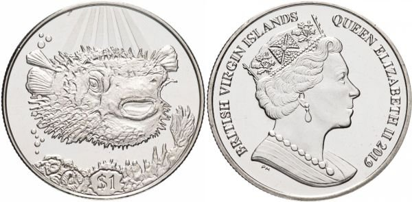 Британские Виргинские Острова. 1 доллар 2019 года. Рыба-дикобраз