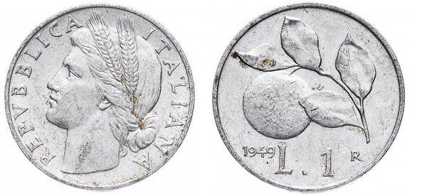1 лира. 1949 год. Алюминий
