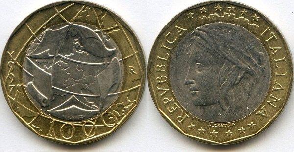 1000 лир. 1997 год. Биметалл