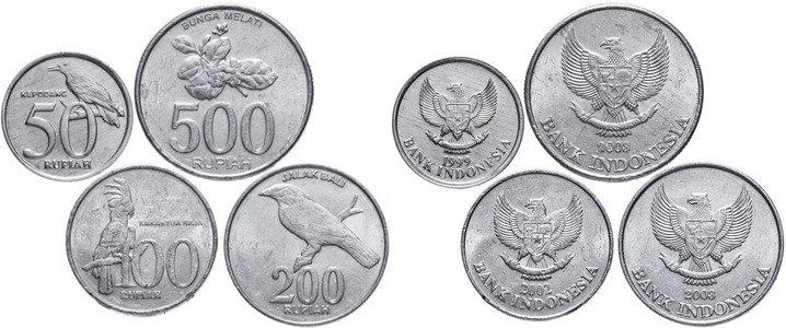 50, 100, 200 и 500 индонезийских рупий