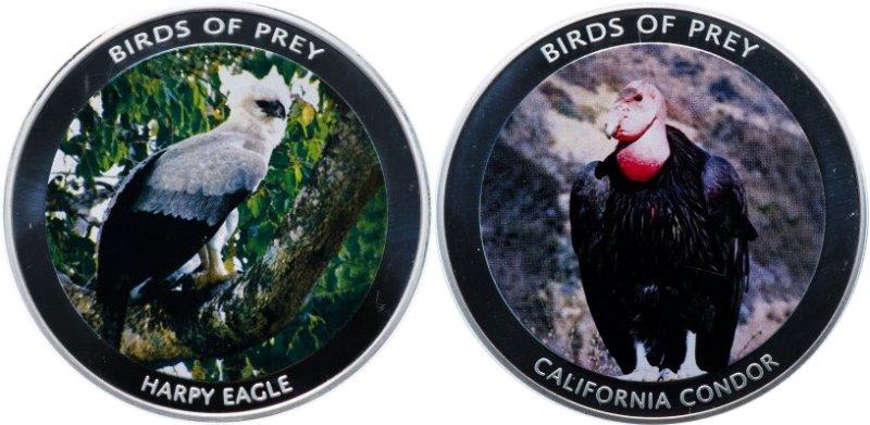 Калифорнийский кондор и Южноамериканская гарпия на монетах серии